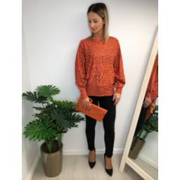 Lucy Cobb Aida Leopard Print jumper in Orange