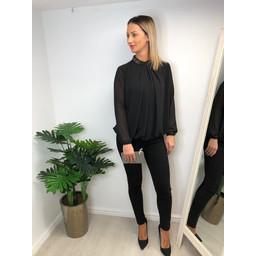 Lucy Cobb Darcy Diamante Collar Blouse in Black