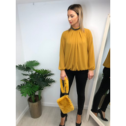 Lucy Cobb Darcy Diamante Collar Blouse - Mustard