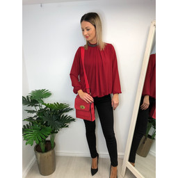 Lucy Cobb Darcy Diamante Collar Blouse in Red