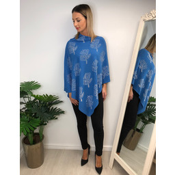 Lucy Cobb Sparkle Tree Poncho in Denim Blue