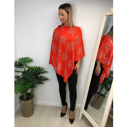 Lucy Cobb Sparkle Tree Poncho in Orange