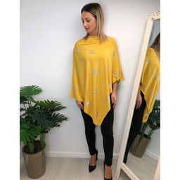 Lucy Cobb Sparkle Star Poncho in Mustard