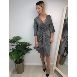 QED Tara Twist Front Midi Dress - Gunmetal