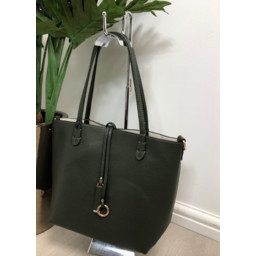 Lucy Cobb Reversible Tote in Dark Green