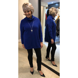 Lucy Cobb Katia Cowl Neck Two Pocket Jumper in Royal