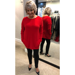 Lucy Cobb Cora Pearl Back Jumper - Red