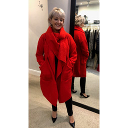 Lucy Cobb Sophia Snood Neck Jacket in Red