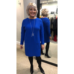 Lucy Cobb Raven Ribbed Jumper Dress - Royal