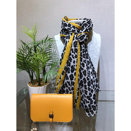 Lucy Cobb Bold Stripe Animal print Scarf  in Mustard