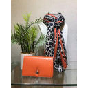 Bold Stripe Animal print Scarf  - Orange