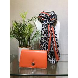Lucy Cobb Bold Stripe Animal print Scarf  - Orange