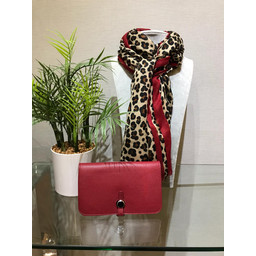 Lucy Cobb Bold Stripe Animal print Scarf  - Red
