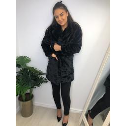 Lucy Cobb Fern Faux Fur Coat - Black