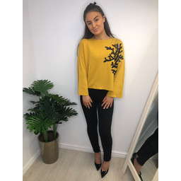 Lucy Cobb Addie Antler Sequin Jumper - Mustard