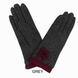 Lucy Cobb Bow Cuff Gloves - Grey