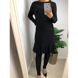 Lucy Cobb Kashia Knitted Frill Hem Dress - Black