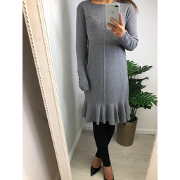 Lucy Cobb Kashia Knitted Frill Hem Dress - Grey
