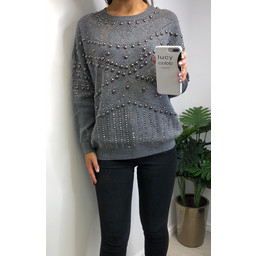 Lucy Cobb Stella Stud Embellished  Jumper - Dark Grey