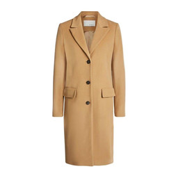 Oui Classic Wool Coat in Camel