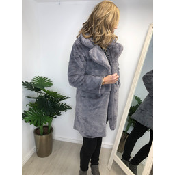 Lucy Cobb Florence Faux Fur Coat - Pewter