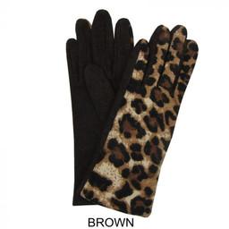 Lucy Cobb Leopard Print Gloves - Brown