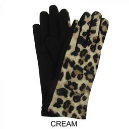 Lucy Cobb Leopard Print Gloves - Cream