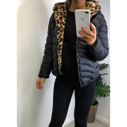 Lucy Cobb Reversible Leopard Puffa - Black