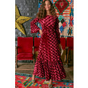Yana 3/4 Sleeve Maxi Dress - Velvet Abstract Bordeaux