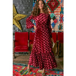 Onjenu Yana 3/4 Sleeve Maxi Dress - Velvet Abstract Bordeaux