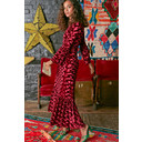 Yana 3/4 Sleeve Maxi Dress - Velvet Abstract Bordeaux - Alternative 1