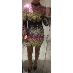 Lucy Cobb Ria Rainbow Sequin Dress - Metallic