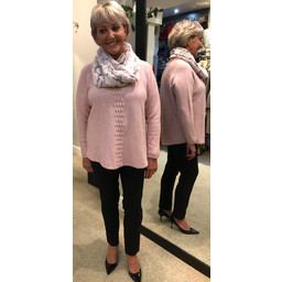 Lucy Cobb Georgie Bobble Panel Jumper in Blush Pink