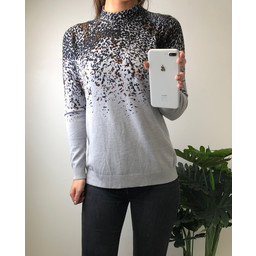 Lucy Cobb Leyla Leopard High Neck Jumper - Grey