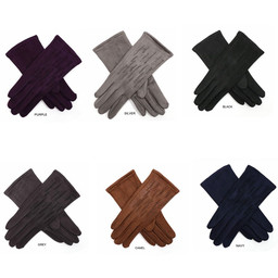 Lucy Cobb Velour Diamante Gloves - Black