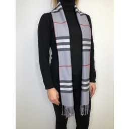 Lucy Cobb Check Scarf - Grey