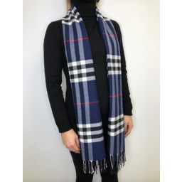 Lucy Cobb Check Scarf - Navy