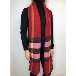Lucy Cobb Crinkled Check Scarf - Burgundy