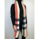 Crinkled Check Scarf - Beige