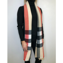 Lucy Cobb Crinkled Check Scarf in Beige