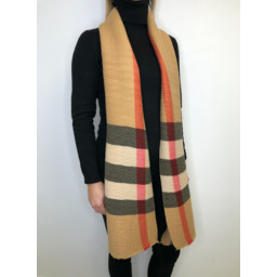 Lucy Cobb Crinkled Check Scarf in Camel