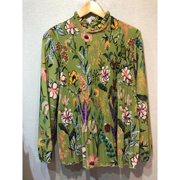 Lucy Cobb Clemmie High Neck Top - Green Floral