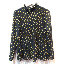 Lucy Cobb Clemmie High Neck Top - Black Spot