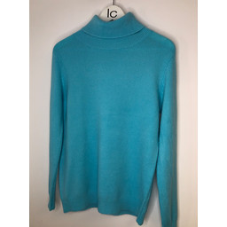Lucy Cobb Petra Brushed Polo Neck Jumper  - Light Turquoise