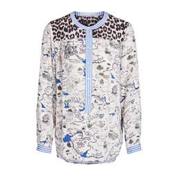Oui Leopard Shoulder Printed Blouse - Blue