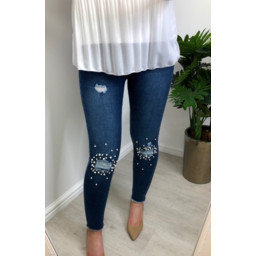 Lucy Cobb Polly Pearl Knee Jeans  - Denim