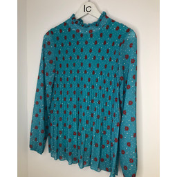Lucy Cobb Clemmie High Neck Top - Turquoise Flower