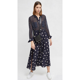 French Connection Adelise Drape Midi Shirt Dress - Navy