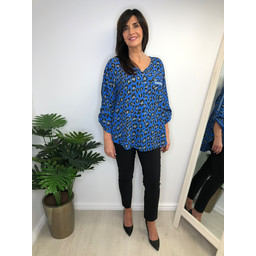 Lucy Cobb Laylah Leopard Top - Royal