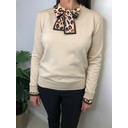 Layla Leopard Scarf Jumper - Beige - Alternative 1